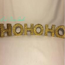 Glitter Paper Mache Letters-Mini Letters-Christmas Letters-Gold Glitter Letters-HOHOHO-Christmas Decor-Gold Christmas Decor