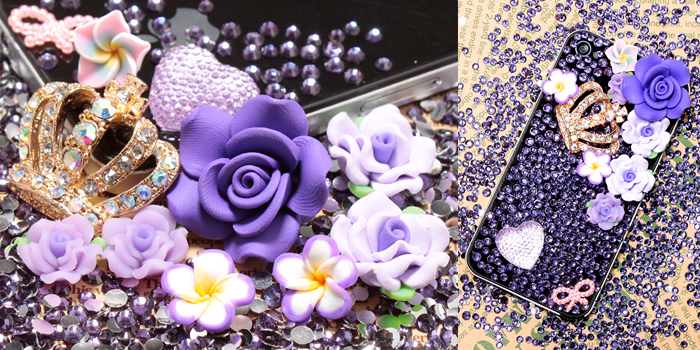 Purple High Quality Crystal Crown Flower Cabochon DIY Cell phone Cover Deco Kit for iphone 6 plus case for samusng case(China (Mainland))