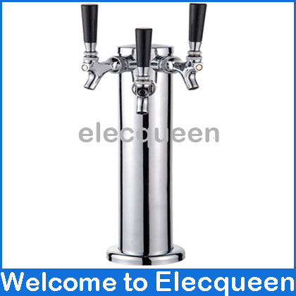 Super quality Stainless steel Triple beer tap , Chrome Triple Faucet Draft Beer Tower