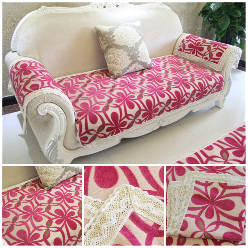 European Classic Flocked Chenille Home Textile Elastic Sofa Cover Fabric Decorative Cushion Cover for Sofa Nonslip Slipcover Red(China (Mainland))