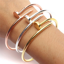 Top Quality 1PCS Bracelet Stainless Steel Carter Silver Gold Plated Women Jewelry Screw Cuff Bangle Free Shipping(China (Mainland))