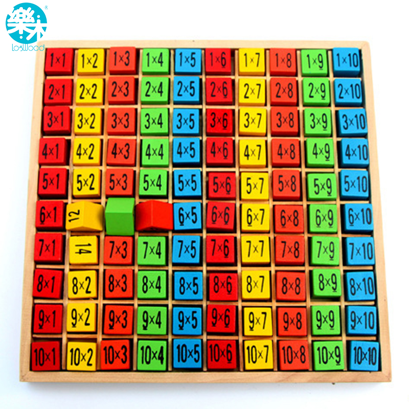 Baby wooden toys 99 multiplication table math toy 10 10 for 10 x table game