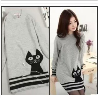 2013 New Autumn Winter Cute cat Animal Knitted Dress Women Pullover,Long Sweater Kitten Striped Tops,Free Shipping(China (Mainland))