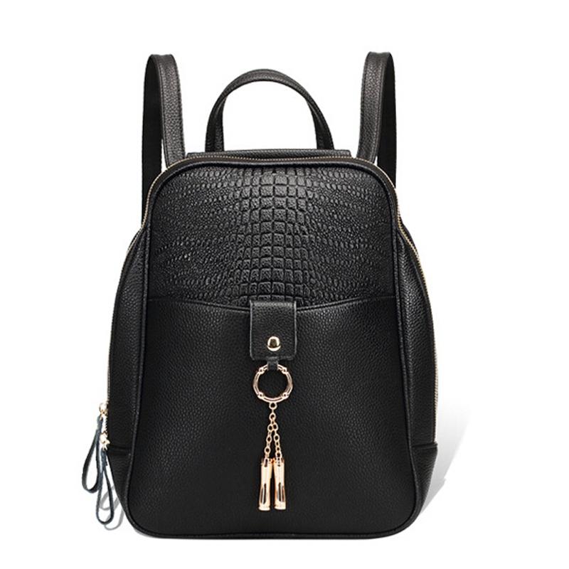 Brand Top Quality Genuine Leather Bag Alligator Solid Women Backpack Fashion Travel Preppy Style Schoolbags Shoulder Backpack