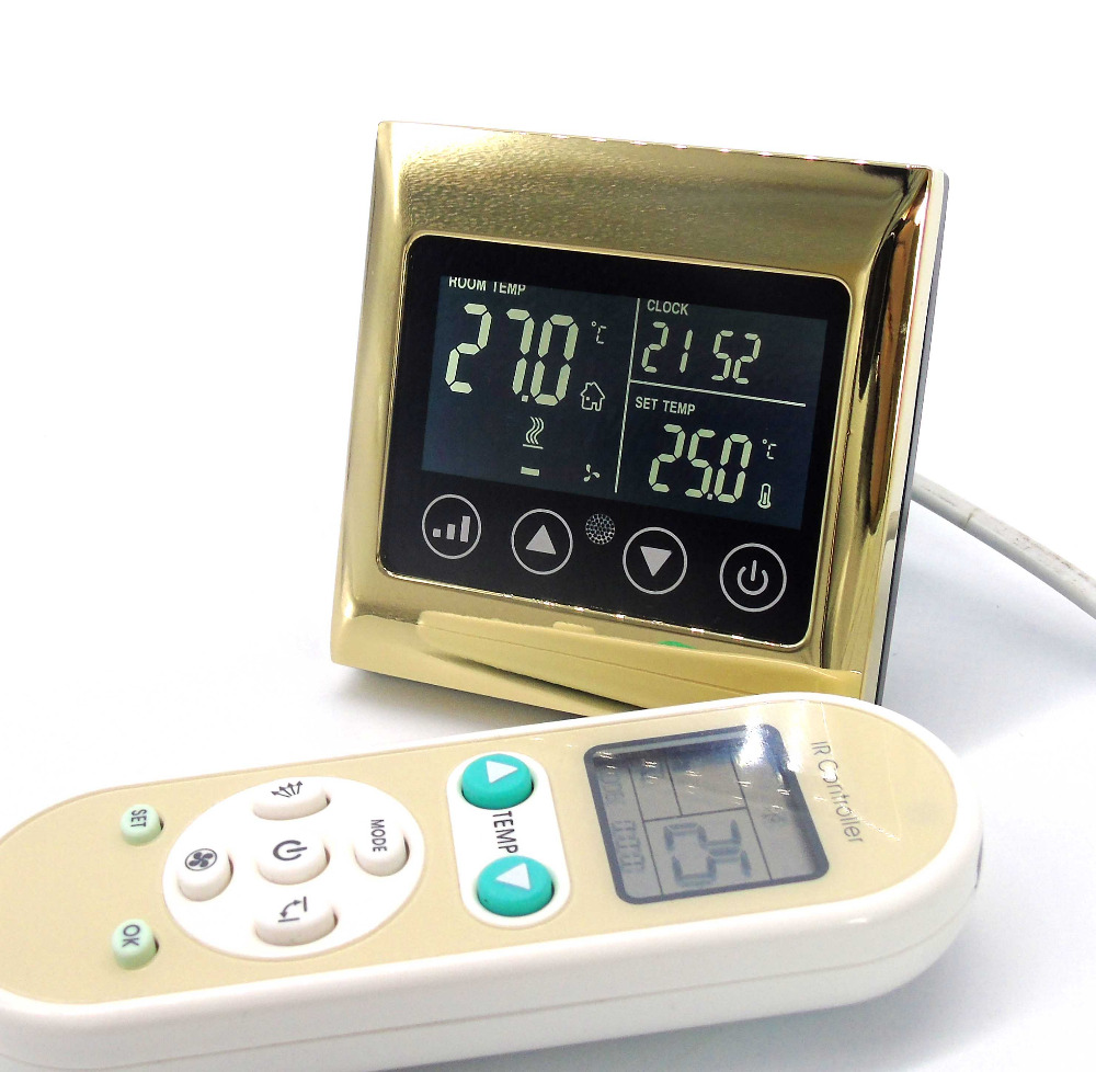 Фотография Remote control 4 pipes cooling/heating valve control thermostat with Bright Gold