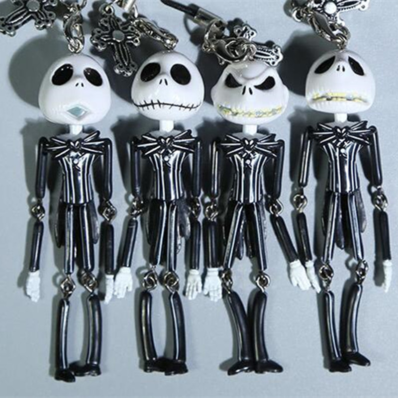 4PCS Jack Skellington The Nightmare Before Christmas Action Figures toy Skull Devil Demons Model phone chain Keychain decoration(China (Mainland))