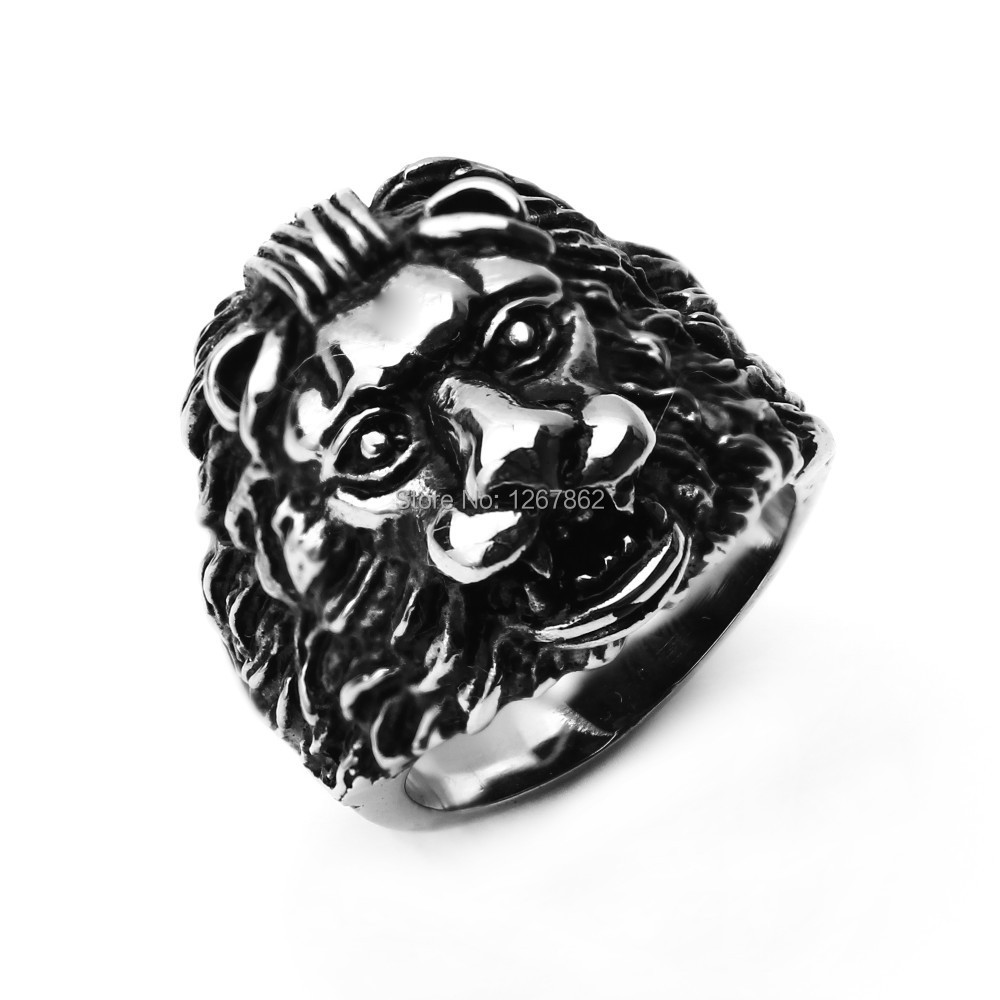 Free shipping European and American style Cool Stainless Steel Leo Ring Punk Retro Ring Unique Novel Ring CNRN-00064-5(China (Mainland))