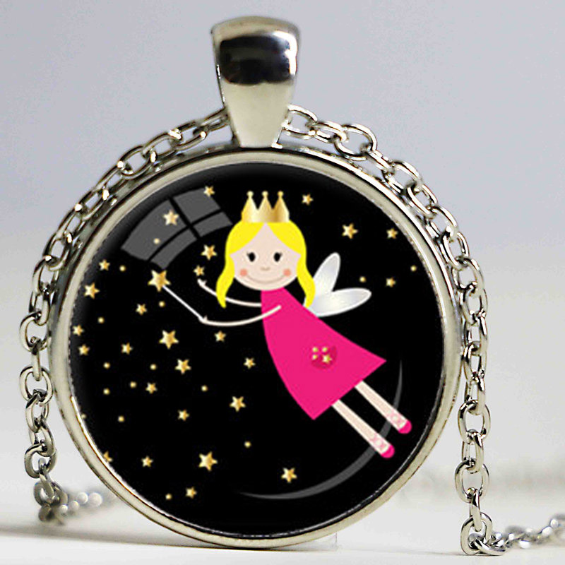 CHILDRENS FAIRY NECKLACE Fairy Pendant Child's Jewelry Black Pink Yellow Fairy Necklace Little Girl Jewelry 27mm Small Size(China (Mainland))