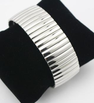 Нержавеющая сталь серебро широкий растягивающие браслеты для мужчины и женщины ювелирные ...