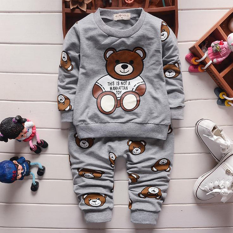 2016 spring children's clothing set baby boys clothes England Teddy Bear Children Sport suit Kids Sets Long sleeve baby clothing(China (Mainland))