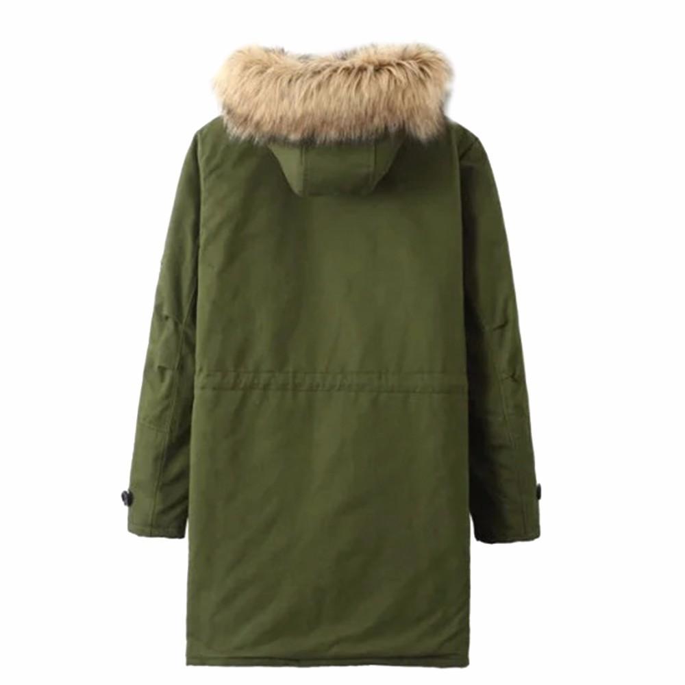 Скидки на Новый 2016 Зимнее Пальто Женщин Армия Зеленый меховой Воротник с капюшоном Вниз & Парки Длинный Теплый Хлопок Твердые Украина Рождество подарки