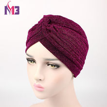 Nowe mody kobiety różowe złoto zwykły błyszczący Shimmer brokat świecący Turban pałąk kapelusze czapka muzułmański hidżab Turbante dla kobiet(China)