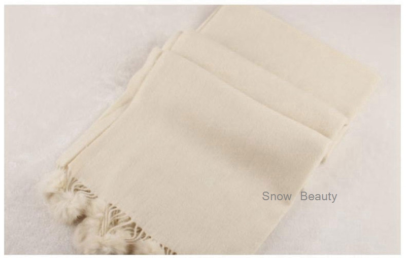 Women's Warm Thick Scarf for Winter European Designer Big Size Shawl Scarves Sheep Fur Pure Color Tassel with Rabbit Fur Ball