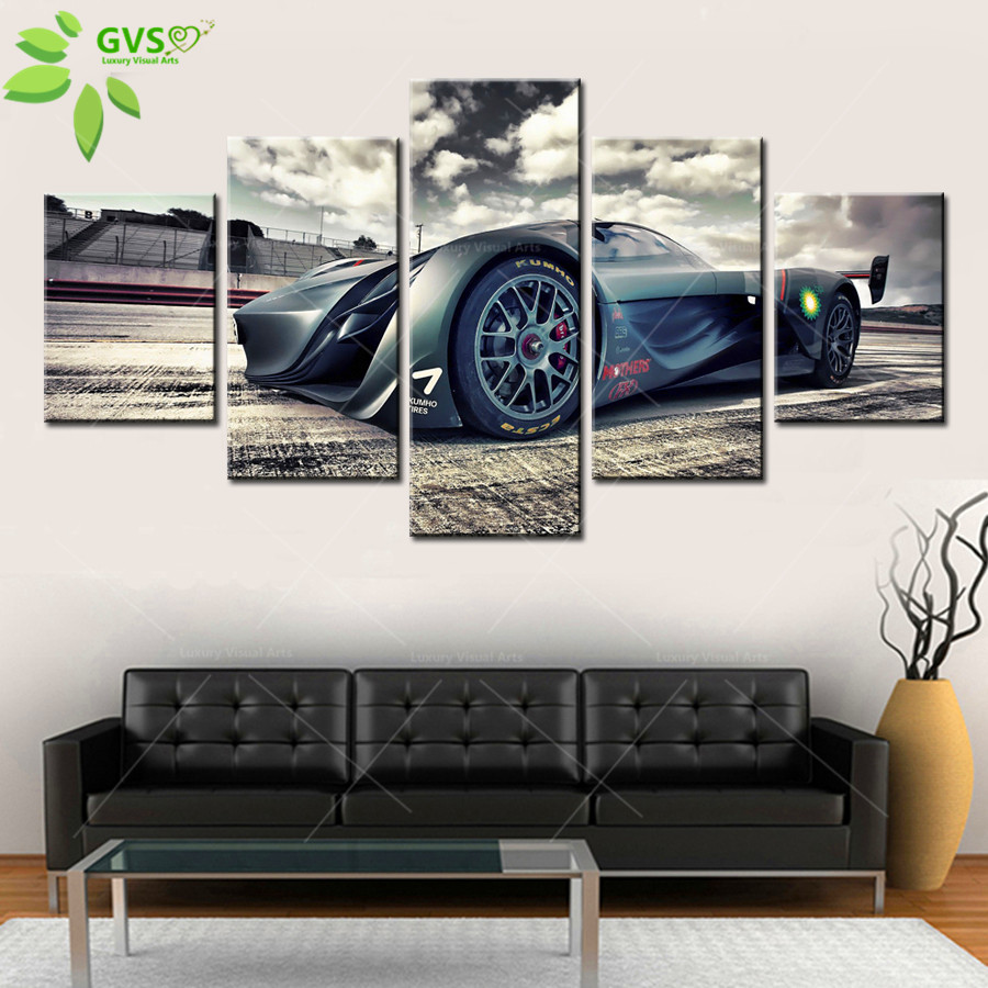 Home Decor Fast Amazing Race Car 5 Pcs Wall Art Modern Picture Painting On Canvas Picture Gift Painting Supplies Hang Art Frame(China (Mainland))