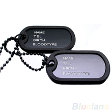 Military Army Style Black 2 Dog Tags Chain Mens Pendant Necklace Jewelry items 04R8
