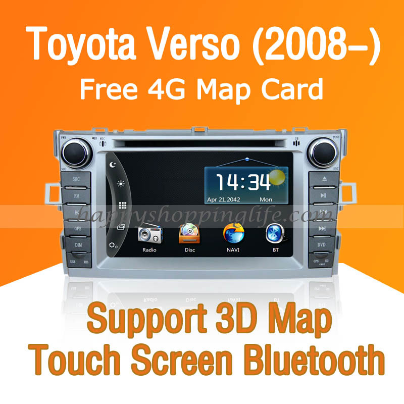 Toyota Verso Car DVD with GPS Navi Touch Screen Bluetooth TV USB SD iPod Radio RDS AUX support steering wheel<br><br>Aliexpress