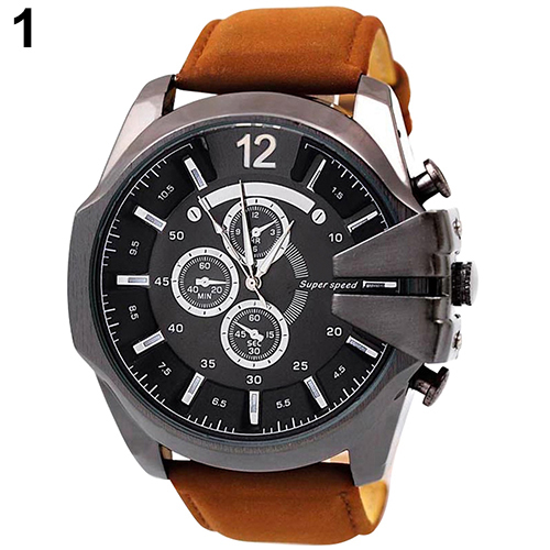 Hot 2015 New Men Big Dial Faux Leather Band Stainless Steel Analog Quartz Sports Watch<br><br>Aliexpress