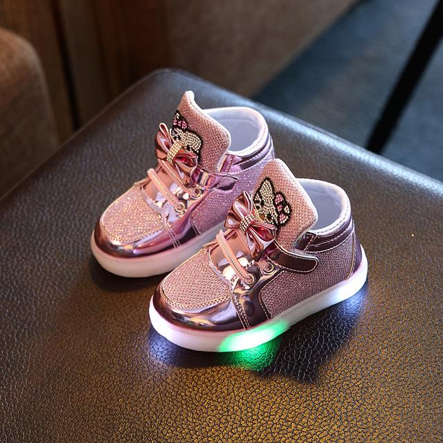 2017 Девушки Обувь Детская Мода Крюк Петля Светодиодные Обувь Дети Light Up Светящиеся Кроссовки Маленькие Девочки Принцесса Детская Обувь с свет