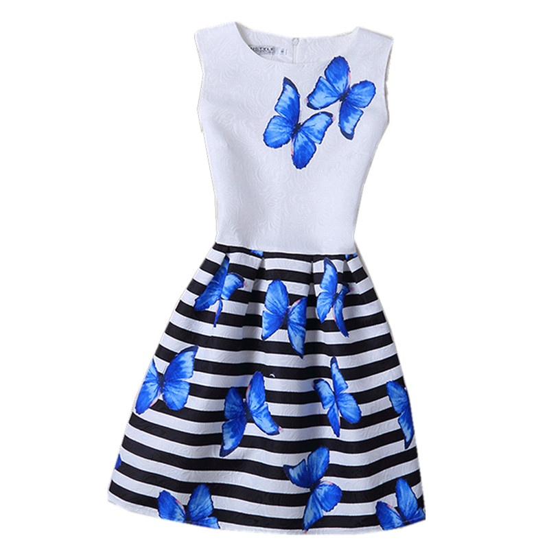 Free shipping 2016 summer 12-20Yrs girl flower print dress casual party girl dress fashion princess dress(China (Mainland))