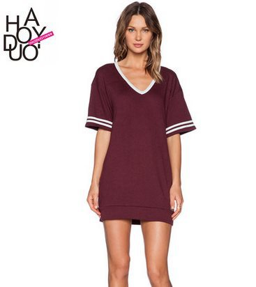R7205 Size XS-XXL 2015 Spring Summer Europe And The United States Baseball Style Mini Ladies Dress,Hit Color Leisure Dress(China (Mainland))