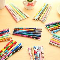 6 pcs/set Cute pens 0.38mm Black ink roller pen Kawaii ballpoint School canetas boligrafos gift Stationery Office supply 6824
