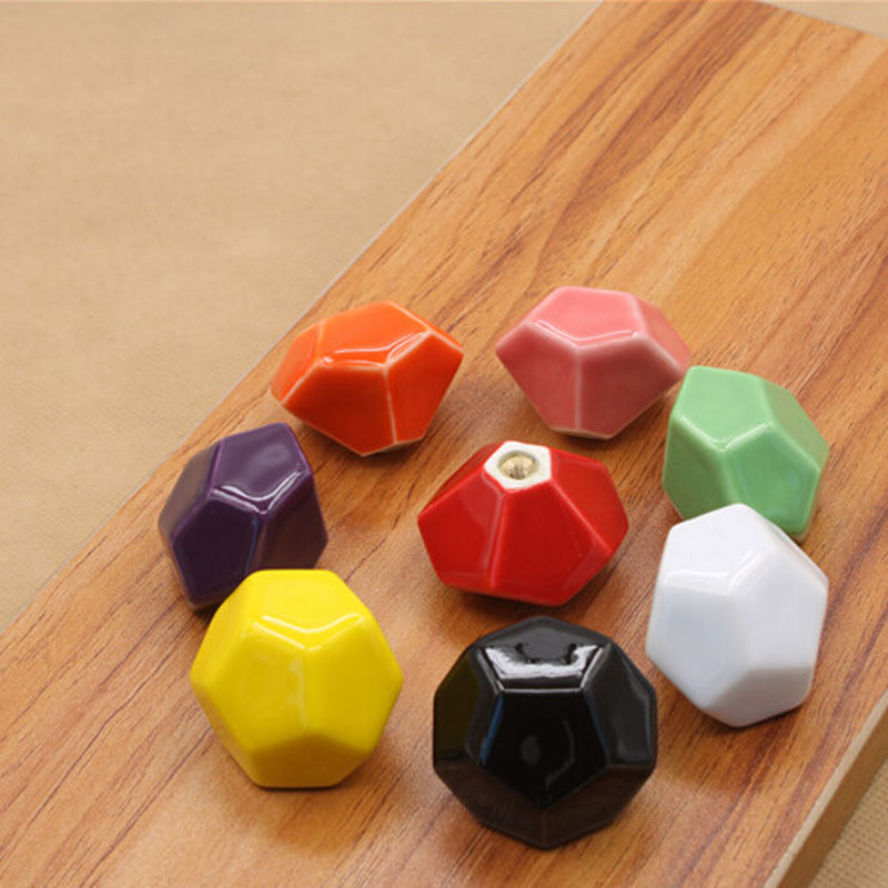 Гаджет  European Hexagon Ceramic Drawer Knobs Single Hole Cabinet Knobs and Handles Furniture Pull Handle tiradores armario None Мебель