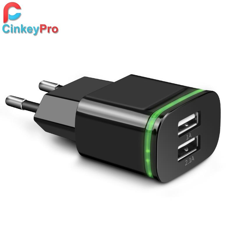 CinkeyPro EU Plug 2 Ports LED Light USB Charger 5V 2A Wall Adapter Mobile Phone Device Data Charging For iPhone iPad Samsung(China (Mainland))