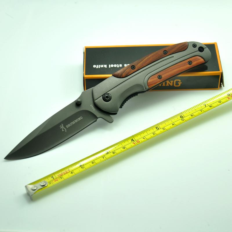browning Folding knife DA43 BR knife 440C 57HRC steel hunting knife rosewood Handle knives with belt