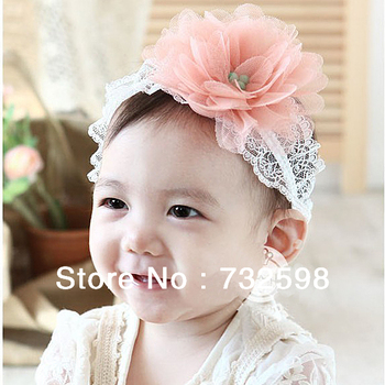 Toddlers Kids Hairband Baby Big Flower Hairwear Lace Band Headband 0-3Y 3 Colors Free shipping
