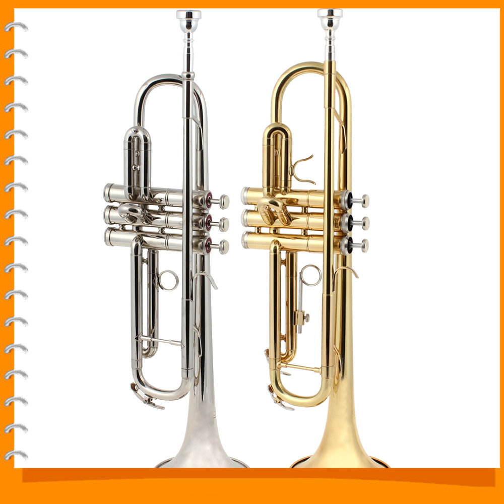 Band Latest 55cm Length Gold / Sliver Brass Trumpet bb Europe-design B Flat Trumpet with Tools(China (Mainland))