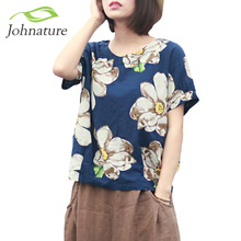 Johnature 2017 Summer New Women Print Flower Round Neck Cotton Linen Short Sleeve T-Shirt Loose Vintage Girl Top(China (Mainland))