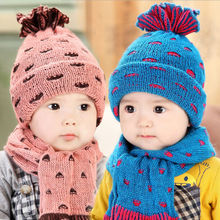 2015 Newest Korea Fashion Baby Hat Lovely Pineapple Knit Caps And Scarf For Baby Winter Warm Scarf Hat Set Baby Neckerchief Set(China (Mainland))