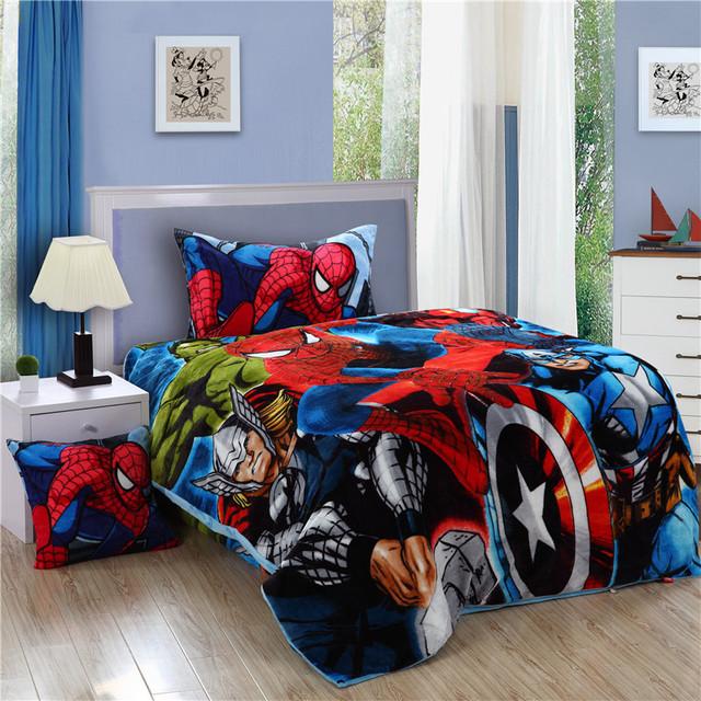 Паук постельных принадлежностей человек паук дети twin-сайз фланель простыня пододеяльник покрывало детские мальчики спальня белья
