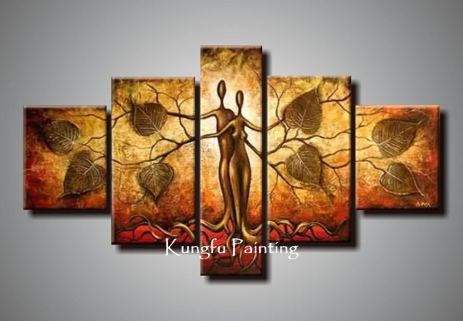 100 Hand Painted Discount Abstract 5 Panel Canvas Art