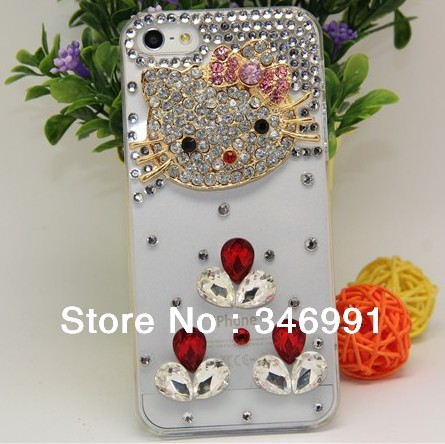 Free shipping Case for iphone 5/5S/5C/5G/4/4S DIY big cat face red diamond transparent PC Rhinestone Decoration Case(China (Mainland))