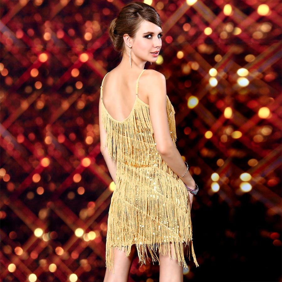 Gold Fringe Dress Gatsby
