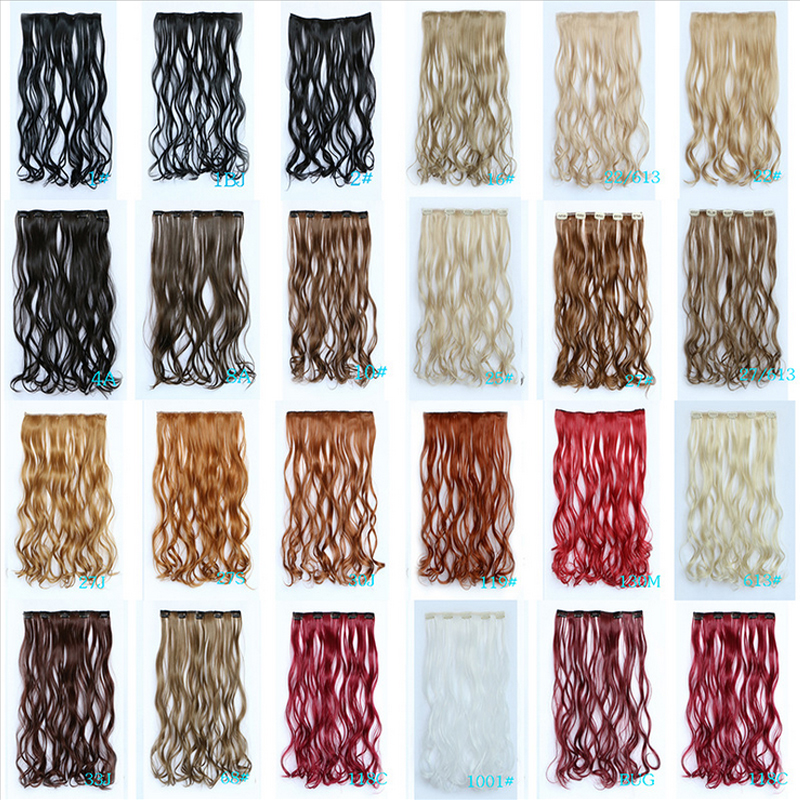 2016 new design five clip hair extension synthetic mix color 14colors avaliable 45cm fashion girl's women's hot sale Brazilian(China (Mainland))