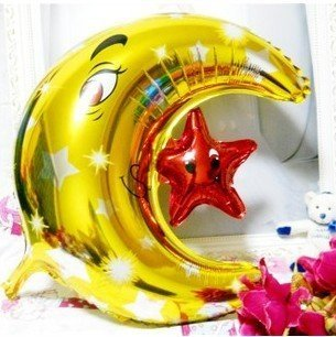 50pcs/lots The moon of star balloons , Aluminum foil balloon , Children toys ,Christmas decoration ,Free shipping