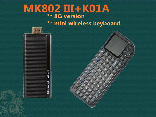 Rikomagic MK802III Dual Core Mini Android 4.2 PC RK3066 1.6Ghz Cortex A9 1GB RAM 8G ROM HDMI [MK802III+K01A]