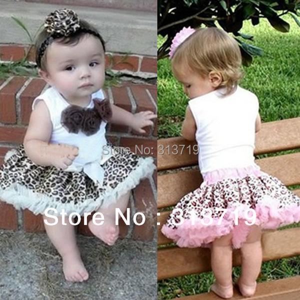 Baby Girl Kids Flowers Top+Skirt Set Leopard Tutu Dress 2 Pcs Outfits 1-4 Years XL039