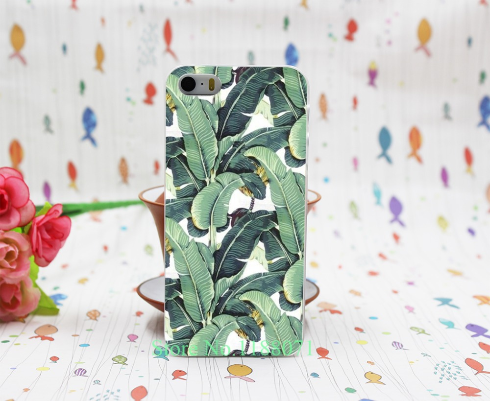 banana leaf pattern Tropical Banana Leaf Pattern Hard Clear Skin Case Cover for iPhone 4 4s 5 5s 5g 1PC(China (Mainland))