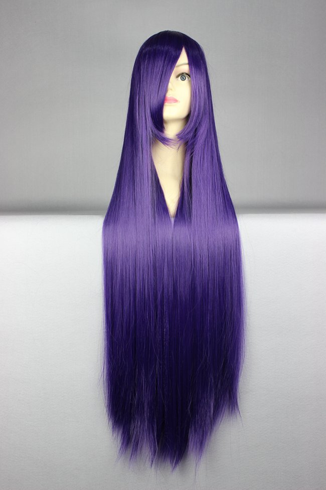 New Fashion Long Anime Wigs 100cm Cosplay Wigs Full Straight Womens Hair Purple(China (Mainland))