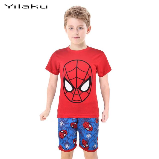 Летний стиль мальчики-паук пижамы костюмы для детей картеры девочки мальчиков детей носить снаряжение детской одежды CF232