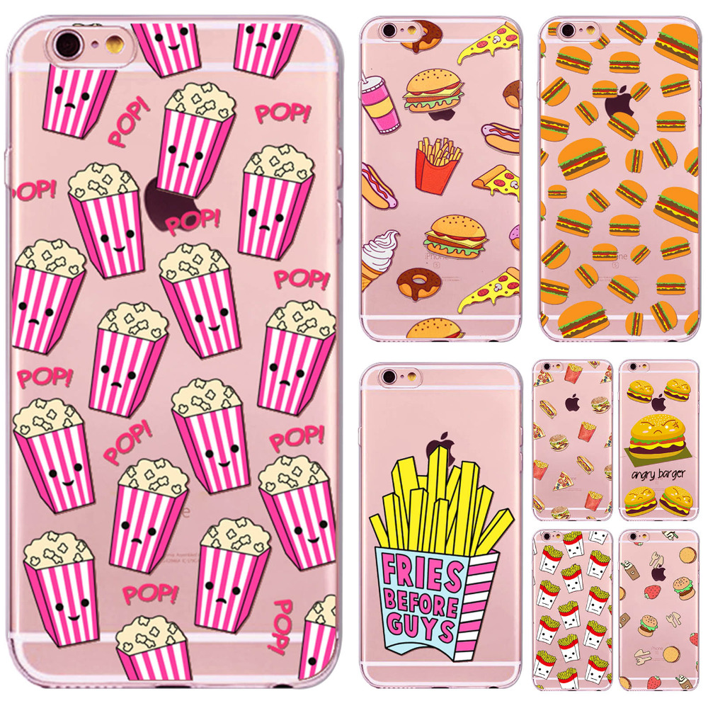 Luxury French Fries Hamburg Case For iphone 6 6S 6P 6SPlus With 14 Patterns Transparent Soft Silicone Protective Phone Covers(China (Mainland))