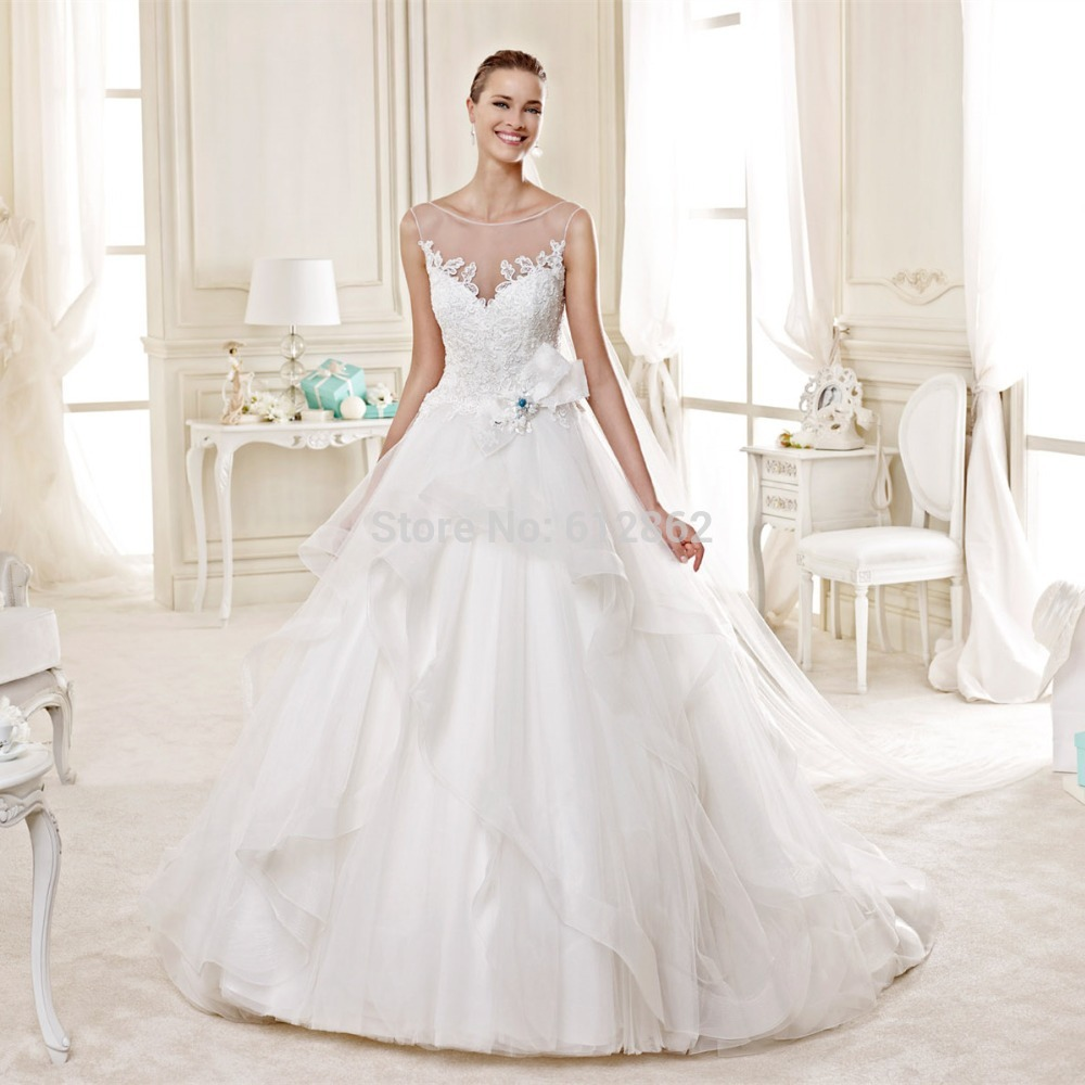 2015 sleeveless ball gown lace wedding dresses with blue for Wedding dresses with blue accents