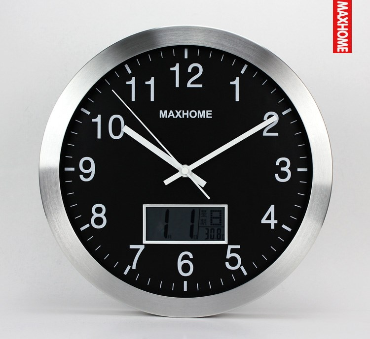 14 inch wall clock hanging sheet date muted minimalist living room lcd electronic clock temperature clock(China (Mainland))