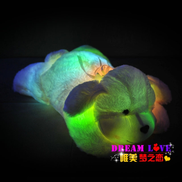 Colorful LED plush toys / with music and sound / light-emitting pillow / high quality dog(China (Mainland))
