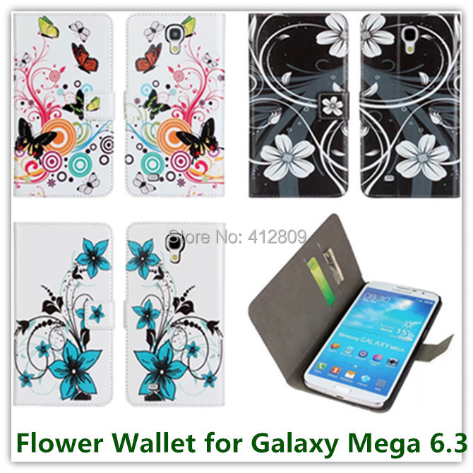 for Samsung i9200 Galaxy Mega 6.3 Colorful Flower Printed Folding Leather Wallet Pouch Back Skin Covers Case High Quality Free(China (Mainland))