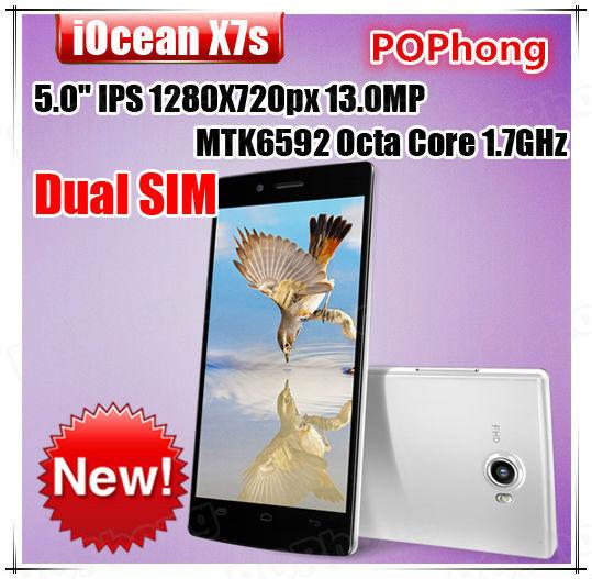 iOCEAN X7S Android 1GB RAM 5 inch MTK6592 Octa Core Smart Phone 13.0MP Camera Multi Language(China (Mainland))