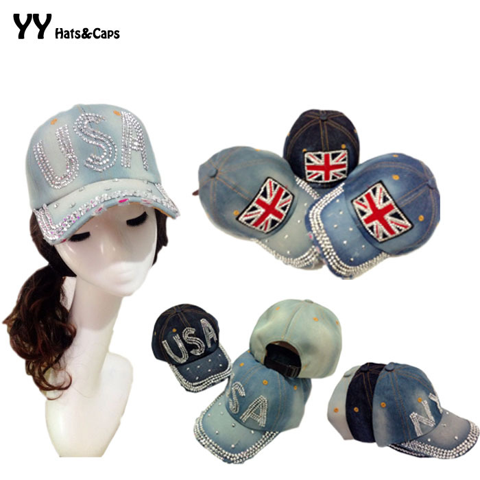 Fashion Denim Jean Snapback Hats Retro Distressed Blue Baseball Caps Letter Flag Rhinestones Bling Hats Adjustable Caps YY0001(China (Mainland))